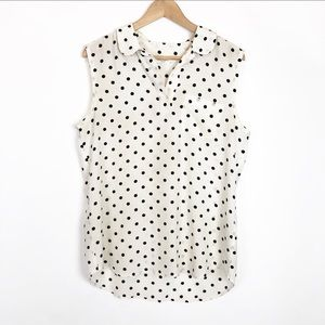 EQUIPMENT FEMME Silk Polka Dot Sleeveless Blouse
